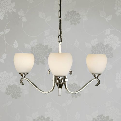 Columbia Nickel 3 light Chandelier, Opal Glass (Modern Classic, Small Chandelier) CA6P3N90